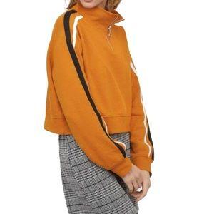 H&M Mustard Stand Up Collar Sweatshirt Sz M NWT